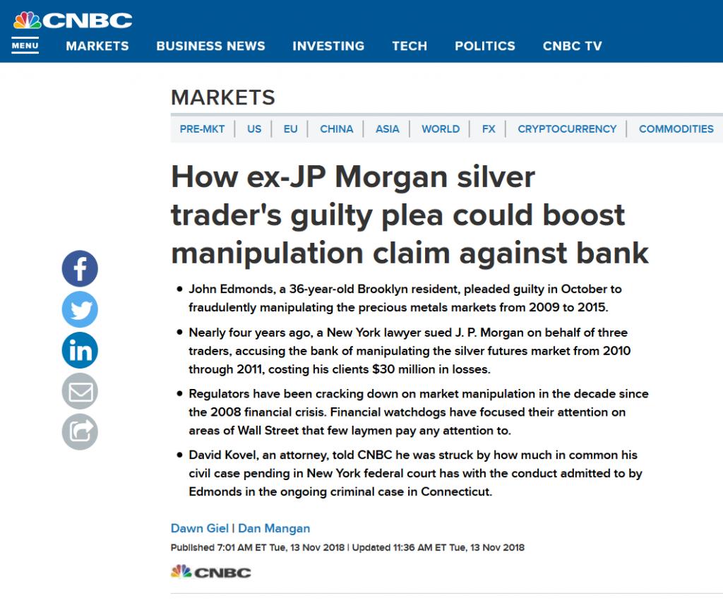 ezüst árfolyam manipuláció JP Morgan pénzügyi fitnesz