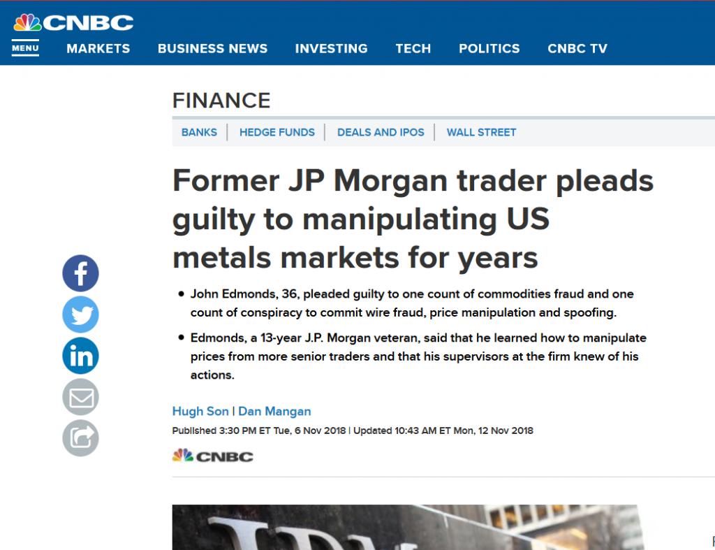ezüst árfolyam manipuláció JP Morgan pénzügyi fitnesz 1