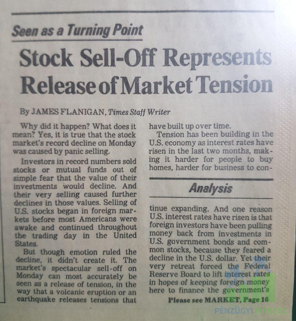 1987 újság válság tőzsde pénzügyi fitnesz