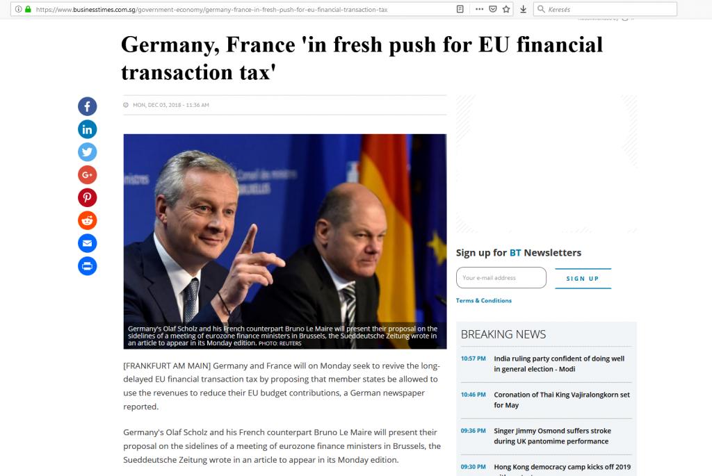 EU tranzakciós illeték Pénzügyi Fitnesz
